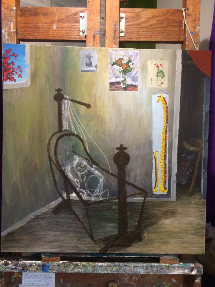 An unfinished painting resting on an easel. The painting depicts an infant in a crib. The wall behind the infant is decorated with pictures of flowers and a child's growth chart. A closet in the background holds a filing cabinet and an empty cradleboard.