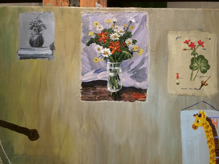 A detail of a painting shows three images of flowers. The first is a black and white picture of a potted geranium. The second is a painting of a vase of wildflowers. The third is a botanical illustration of a geranium. A child's growth chart is shown hanging on the wall below the botanical drawing.