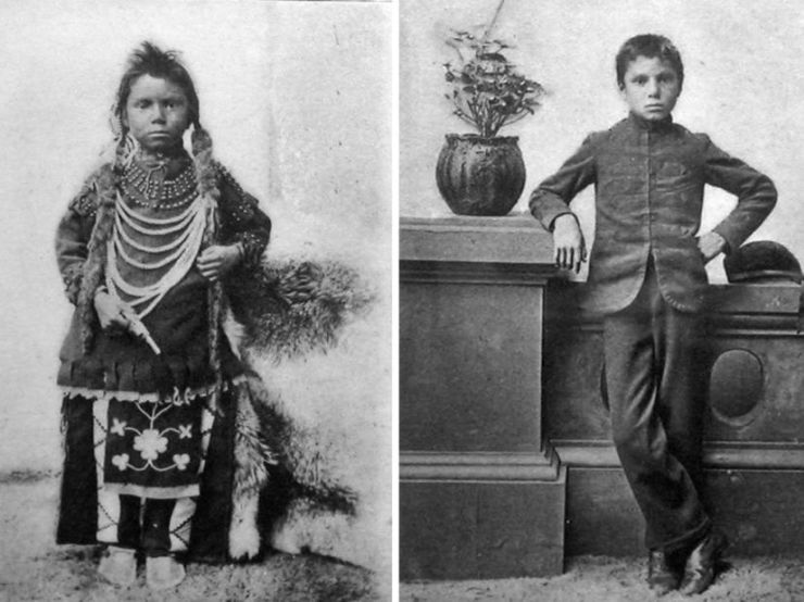 Two black and white photographs of Thomas Moore are shown side by side. In one he is in traditional regalia backdrop against an animal hide. In the second he wears European style dress and leans against an architectural barrier. A potted geranium is pictured beside him. His hair has been cut short.