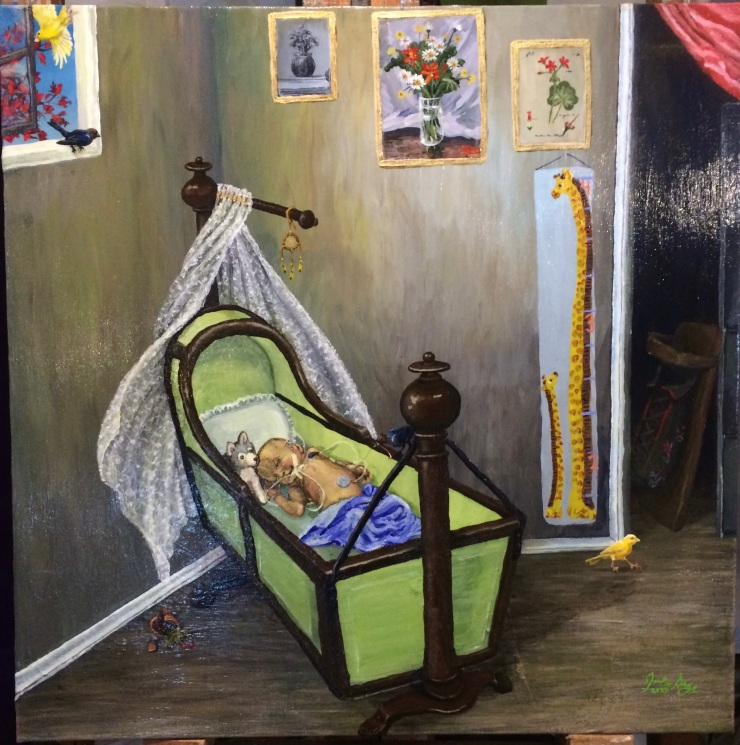 A completed painting shows a cyborg baby in an antique bassinet. Birds are entering and exiting through the open window. They have knocked over a flower pot that lies broken on the floor. One bird is pulling on the wires connected to the cyborg baby's arm. Another bird near the closest directs the viewers gaze to an empty tiginaagan concealed in the shadows of a closet. On the wall behind the bassinet are three paintings of flowers and a child's growth chart. The composition of the painting is top heavy, and the viewer's eye is moved around an area of negative space created by an empty wall behind the bassinet, putting the entire painting slightly off balance.