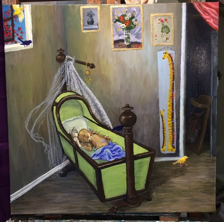 An unfinished painting of an infant in a cradle. The infant is connected to wires and snuggled up to a stuffed wolf. There is a yellow canary on the floor and another flying out the partially open window. Two dark blue silhouettes indicate where additional birds will be painted.