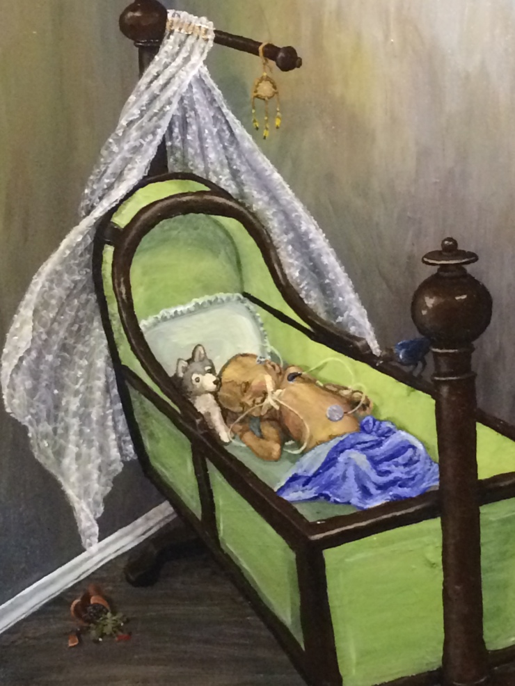A detail of a painting showing an infant in a bassinet. The bassinet is surrounded by a white lace curtain which is blowing open. The infant is snuggled into a stuffed wolf, and is connected to wires and monitors. A brown headed cowbird perches on the side of the cradle. A broken flower pot is on the ground beside the cradle and a dream catcher hangs from the curtain rod above the infant.