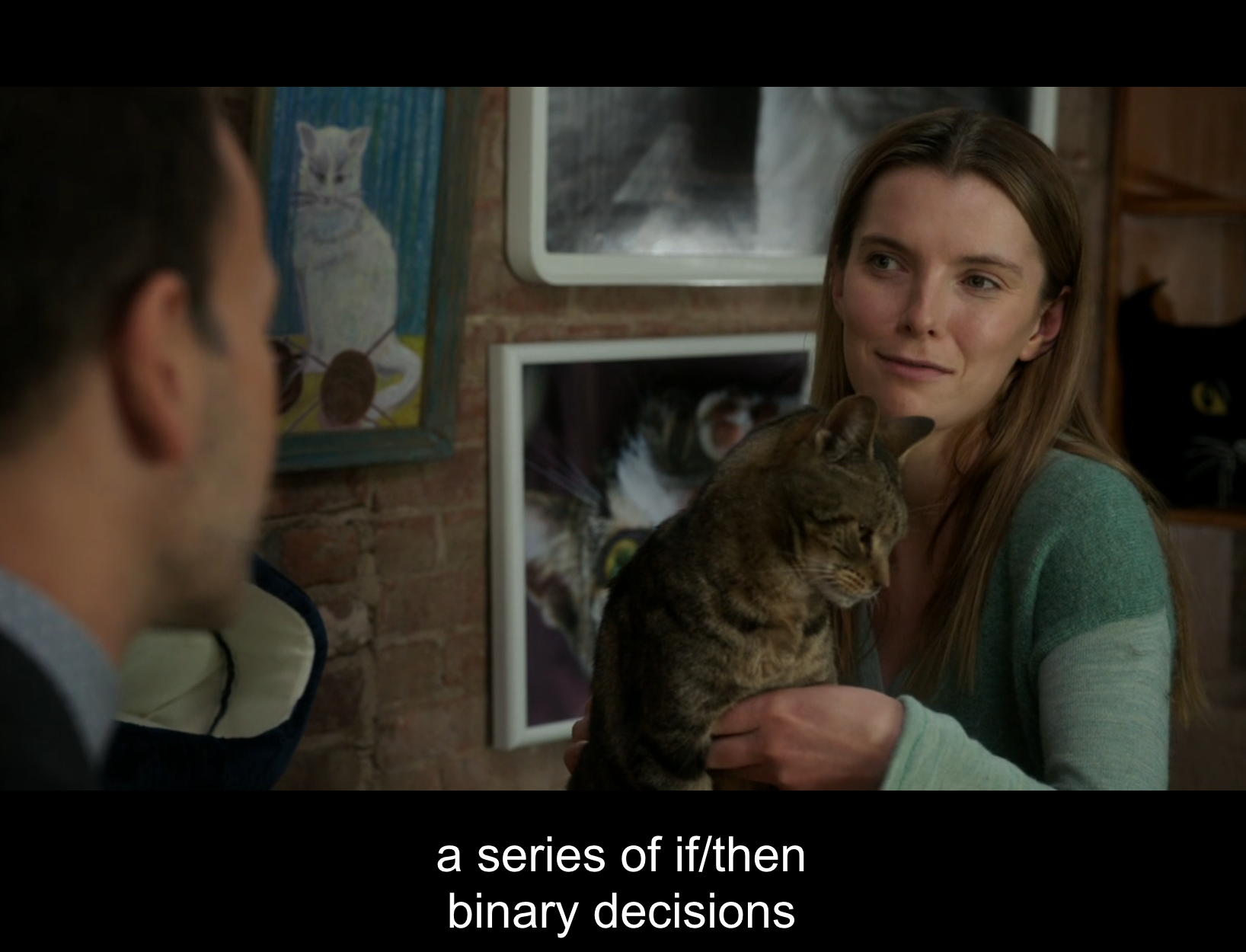 Fiona's body language softens and she exhibits more facial expressions when we see her latter in the series in environments where she is comfortable, such as when Sherlock tracks her down at a cat cafe (Elementary. 2016a).