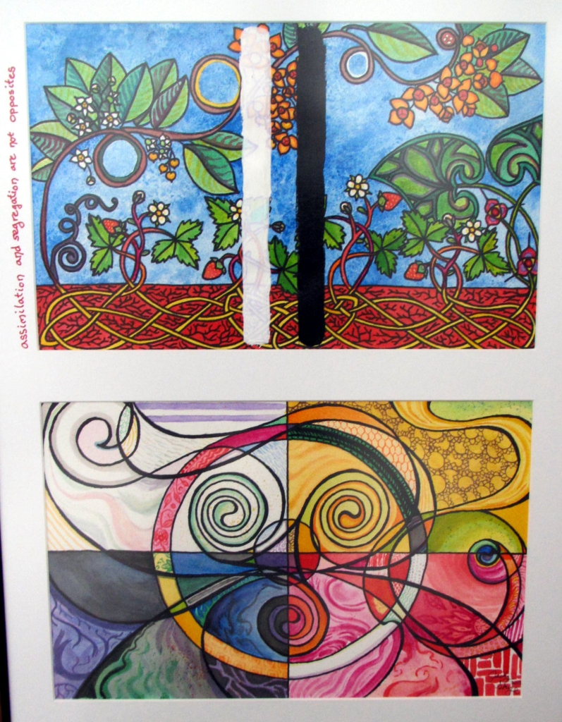 A diptych in ink and acrylic. The upper image depicts strawberries, wild ginger and American bittersweet with rhizomatic roots intertwined in a Celtic knot. The lower image shows a medicine wheel and a triskelion super imposed harmoniously. The upper image has been painted over with vertical white and black lines. Hand written on the white matboard framing the images is the caption: assimilation and segregation are not opposites.