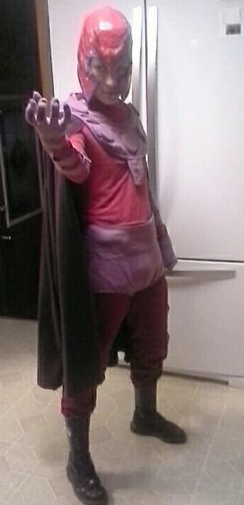 A photo of the author dressed as Magneto.