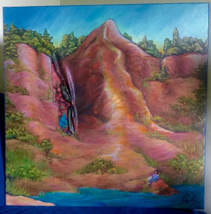 Bliss: A Meditation on Time. A painting of a person seated on an outcropping overlooking a lake. High cliffs rise up behind them and reflect pink and golden light. The sky and lake are a rich turquoise blue. The person is eating an apple. A bike lies on its side on the beach. The canvas is split at a crevasse in the cliff face and sewn back with copper wire. Behind the torn canvas the same landscape is visible, but painted in a woodlands style. The tree in the painting has red fruit, while the same tree is just visible in the pulled back part of the canvas  is painted with its fruit still unripe.