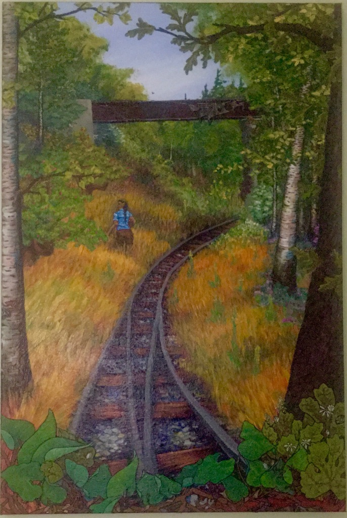 "The Gardener. A painting of a person walking beside train tracks in a field. They wear a blue shirt and have dark hair. They are carrying a basket of apples. A torn banner hangs from a bridge overhead. The word ""Land"" is barely visible. Wild ginger and blood root grow over the railway. There is a small ribbon snake in the branch of a birch tree at the left hand edge of the painting. The person is looking back over their shoulder."