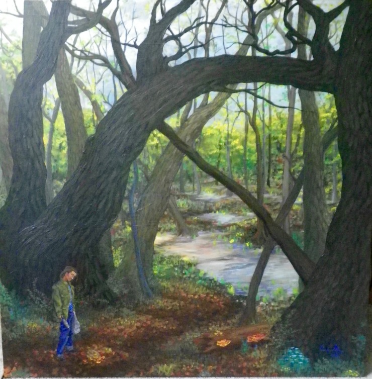 Carolinian Gothic. A panting of a person standing in the forest. They are wearing a camoflage jacket and jeans and holding a plastic bag and a knife. A second, cloth bag has been droped, scattering orange chicken of the woods mushrooms in front of them.